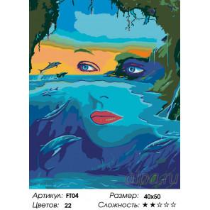 Количество цветов и сложность Морская владычица Раскраска по номерам на холсте Живопись по номерам FT04
