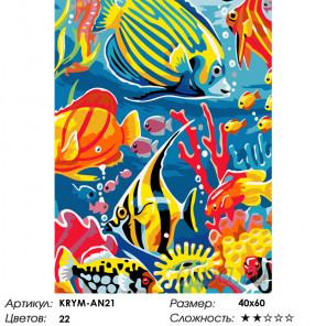 Количество цветов и сложность Веселые рыбки Раскраска по номерам на холсте Живопись по номерам KRYM-AN21