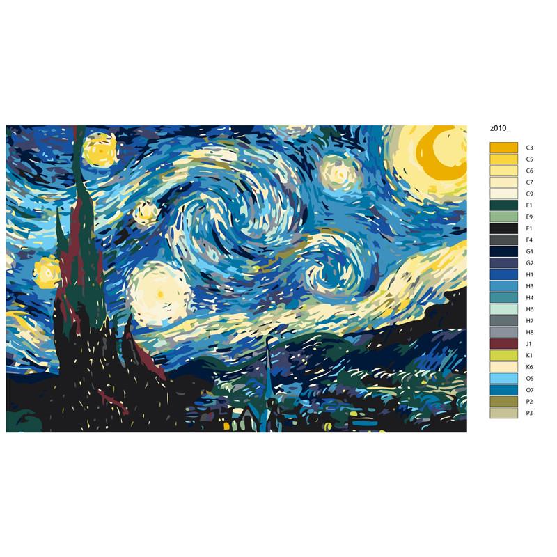 KRYM-Z010 Звездная ночь Раскраска по номерам на холсте ...
