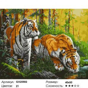 Количество цветов и сложность Тигры у воды Раскраска по номерам на холсте GX25502