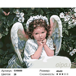 Количество цветов и сложность Маленький ангел Раскраска по номерам на холсте GX8600