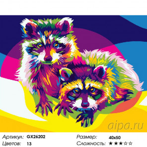 Любопытные еноты Раскраска по номерам на холсте GX26202