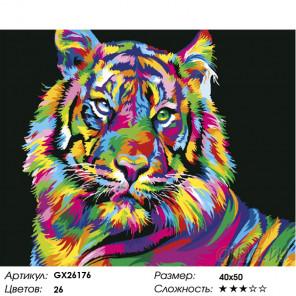 Количество цветов и сложность Радужный портрет тигра Раскраска по номерам на холсте GX26176