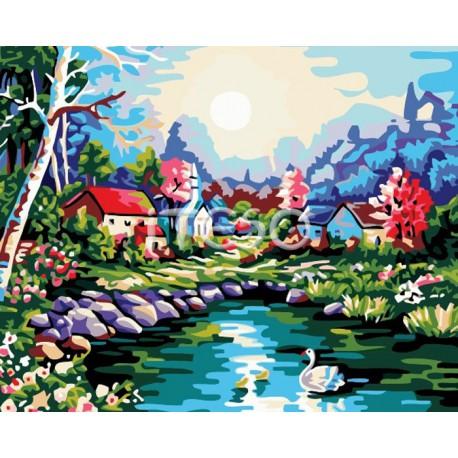 Дивный пруд Раскраска по номерам акриловыми красками на холсте Iteso