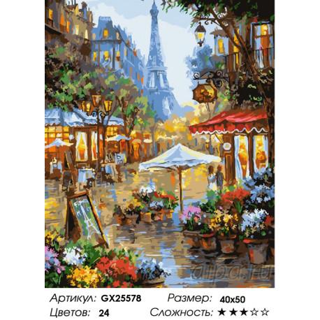 Количество цветов и сложность Цветочная улочка Парижа Раскраска по номерам на холсте GX25578