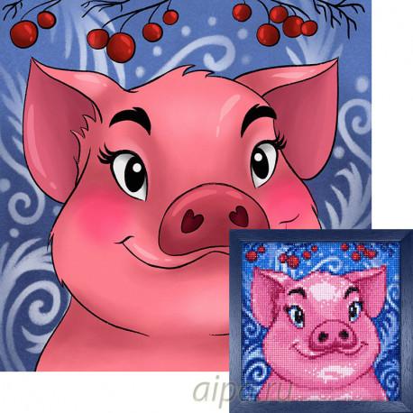 Свинка Алмазная вышивка мозаика Гранни AG2297