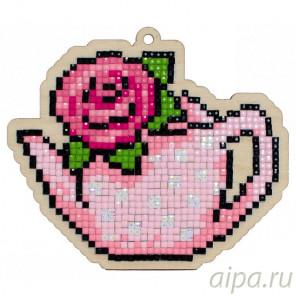 Чайник с розой Алмазная мозаика подвеска Гранни Wood W0178