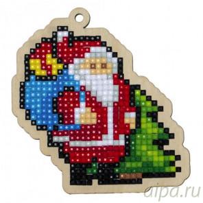 Санта с подарками Алмазная мозаика подвеска Гранни Wood W0310