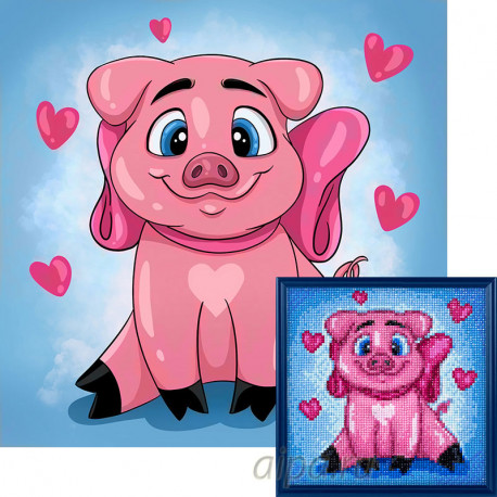 Влюбленная свинка Алмазная вышивка мозаика Гранни AG2296