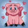 Раскладка Влюбленная свинка Алмазная вышивка мозаика Гранни AG2296