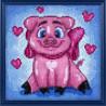 Собранная Влюбленная свинка Алмазная вышивка мозаика Гранни AG2296