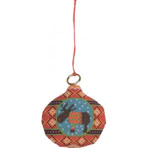 В рамке Лось на шаре Набор для вышивания ёлочного украшения Permin 01-8227