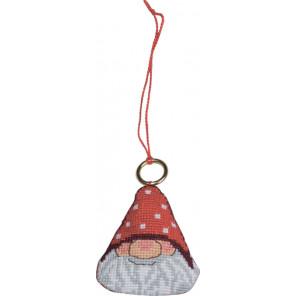 В рамке Дед Мороз Набор для вышивания ёлочного украшения Permin 01-8220