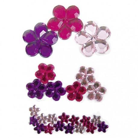 Цветы розово-фиолетовые 209 Стразы набор Decopatch