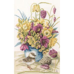 Flowers & lapwing Набор для вышивания LanArte PN-0169671