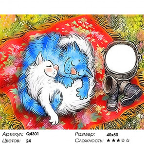 Коты на пикнике со сметаной Раскраска картина по номерам на холсте Q4301
