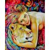 Женщина и львица Раскраска картина по номерам на холсте Q3408