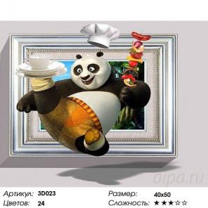 Количество цветов и сложность Панда повар Раскраска картина по номерам 3D на холсте 3D023