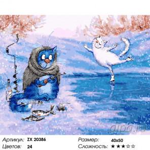 Зимние коты Раскраска картина по номерам на холсте ZX 20386