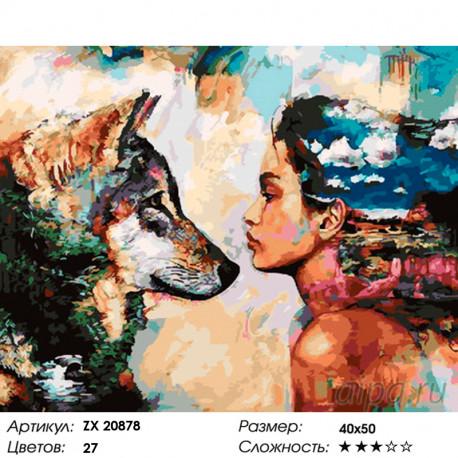 ZX 20878 Девушка и волк Раскраска картина по номерам на ...