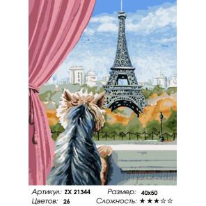 Количество цветов и сложность Эйфелева башня и собачка Раскраска картина по номерам на холсте ZX 21344