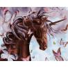 Единорог с бабочками Раскраска картина по номерам на холсте ZX 21363