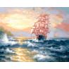 Корабль на волнах Раскраска картина по номерам на холсте ZX 21368