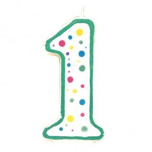 Цифра 1 Свеча зеленая Wilton (Вилтон)