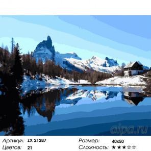 Количество цветов и сложность Зимний домик в горах Раскраска картина по номерам на холсте ZX 21287