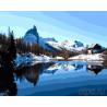 Зимний домик в горах Раскраска картина по номерам на холсте ZX 21287