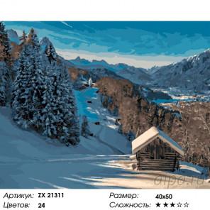 Количество цветов и сложность Зимний пейзаж. Шале Раскраска картина по номерам на холсте ZX 21311