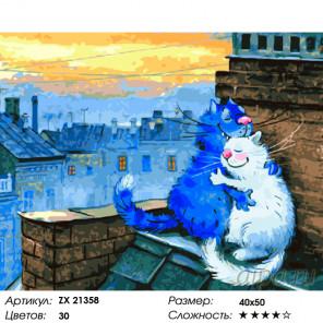Влюбленные коты Раскраска картина по номерам на холсте ZX 21358