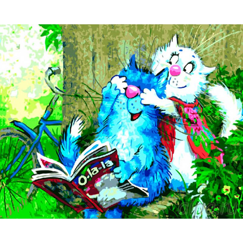 ZX 21359 Забавные коты Раскраска картина по номерам на ...