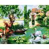 Лебеди у мельницы Раскраска картина по номерам на холсте ZX 21386