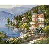 Виллы у озера Раскраска картина по номерам на холсте ZX 20227