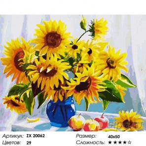Количество цветов и сложность Ваза с подсолнухами Раскраска картина по номерам на холсте ZX 20062