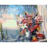 Лилии и вид на море Раскраска картина по номерам на холсте ZX 20722