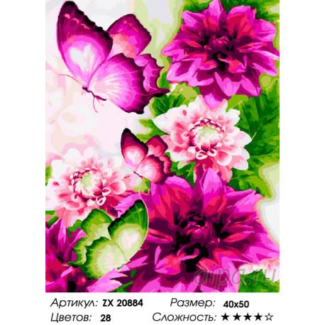 Количество цветов и сложность Пионовые бабочки Раскраска картина по номерам на холсте ZX 20884