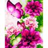 Пионовые бабочки Раскраска картина по номерам на холсте ZX 20884