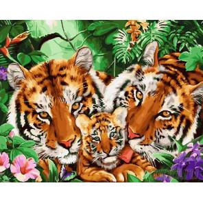 Тигриные нежности Алмазная мозаика на подрамнике Painting Diamond GF1804