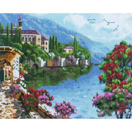 Прибрежный городок Алмазная мозаика на подрамнике Painting Diamond GF2240