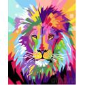 Яркий радужный лев Раскраска картина по номерам на холсте
