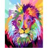Яркий радужный лев Раскраска картина по номерам на холсте GX26601