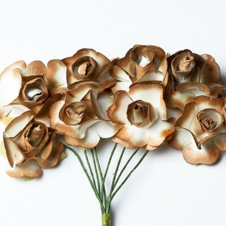 Розы коричневые HY0010018502-1 Цветы бумажные Украшение для скрапбукинга, кардмейкинга Scrapberry's
