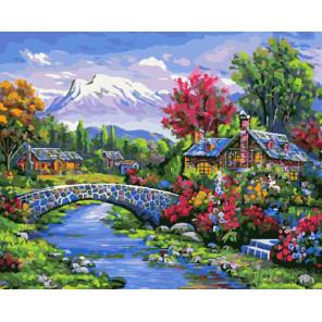 Домики у реки Раскраска картина по номерам на холсте GX23764