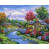 Домики у реки Раскраска картина по номерам на холсте