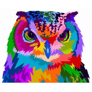 Радужная сова Раскраска картина по номерам на холсте GX26721