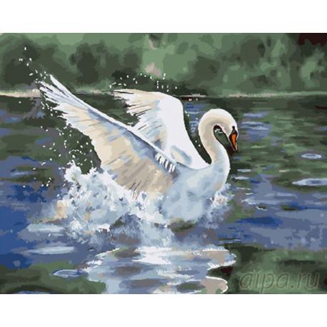 Лебедь на пруду Раскраска картина по номерам на холсте GX26930
