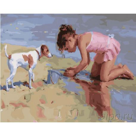 Девочка на пляже Раскраска картина по номерам на холсте GX26925