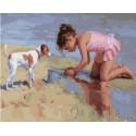 Девочка на пляже Раскраска картина по номерам на холсте